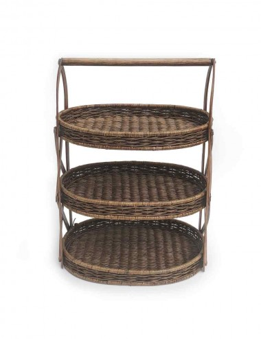 3 TIER TRAY STAND RATTAN